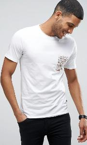 Only & Sons , T Shirt With Contrast Print Pocket And Raw Hem