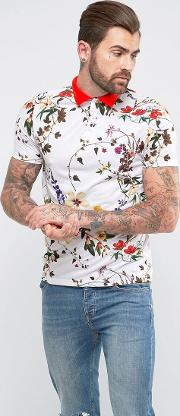 Asos , Polo With Floral Print And Contrast Collar