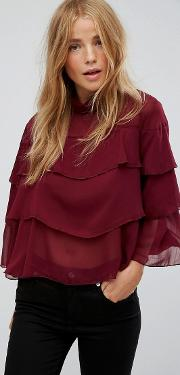 Qed London , Blouse With Frill Overlay