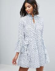 Sister Jane , All Over Embroidered Smock Dress With Frills