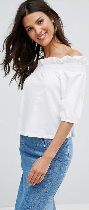 Asos , Top With Off Shoulder And Balloon Sleeve