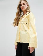 House Of Sunny , Pyjama Style Shirt With Contrast Piping
