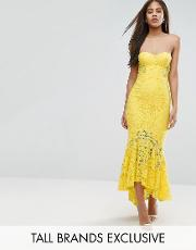 Jarlo Tall , Allover Lace Bandeau Midi Dress With Highlow Fishtail