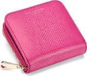 Aspinal Of London , Mini Continental Zipped Coin Purse In Raspberry