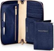Aspinal Of London , Zipped Travel Wallet With Passport Cover In Midnight Blue Lizard & Cream
