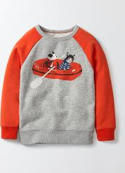 Mini Boden , Fun Coastal Sweatshirt Grey Marl Boys Boden