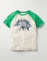 Mini Boden , Graphic Raglan T Shirt Ecru Boys Boden