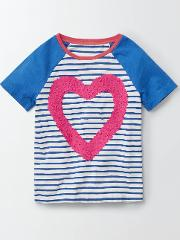 Mini Boden , Kendal T Shirt Ivory/skipper Stripe Heart Girls Boden