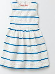 Mini Boden , Pascale Dress Ivory Stripe Girls Boden