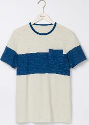 Boden , Slub Wide Stripe Crew White Stone/ Royal Marine Men
