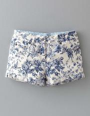 Boden , Turn Up Shorts Snowdrop Tropical Toile Girls