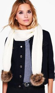 Boohoo , Faux Fur Pom Knitted Scarf - Cream