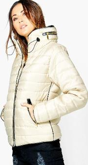 Boohoo , Quilted Padded Jacket - Beige