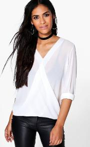 Boohoo , Wrap Over Blouse - Cream