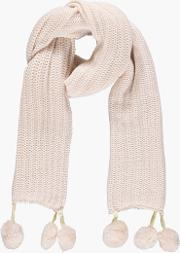 Boohoo , Double Faux Fur Pom Rib Knit Scarf - Cream