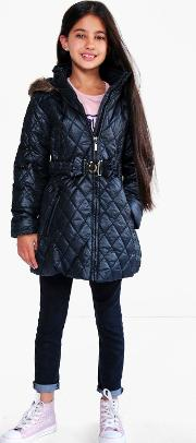 Boohoo , Diamond Quilted Faux Fur Hooded Coat - Black