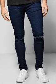 Boohoo , Skinny Stretch Jeans With Ripped Knees - Indigo