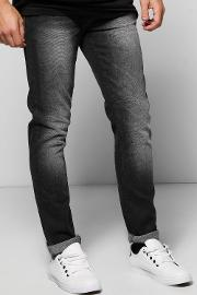 Boohoo , Fit Charcoal Jeans With Sandblasting Charcoal