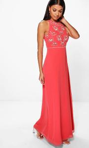 Boohoo , Aine Floral Top High Neck Maxi Dress - Coral