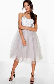 Boohoo , Ana Corded Lace Tulle Prom Dress Grey