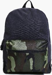 Boohoo , And Pu Mixed Camo Back Pack - Black