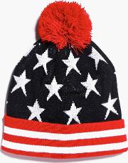 Boohoo , And Stripes Bobble Hat - Red