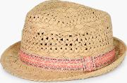 Boohoo , Aztec Trim Trilby - Natural