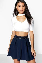 Boohoo , Basic Scuba Box Pleat Skater Skirt Navy