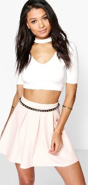Boohoo , Basic Scuba Box Pleat Skater Skirt Nude
