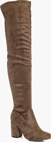 Boohoo , Block Heel Over The Knee Boot Mocha