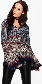 Boohoo , Border Print Lace Up Front Blouse - Navy