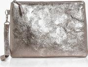 Boohoo , Boutique Distressed Leather Clutch - Pewter