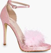 Boohoo , Bridal Feather Trim Two Part Sandal - Pink