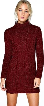 Boohoo , Cable Knit Jumper Dress Wine