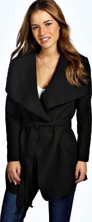 Boohoo , Charlotte Waterfall Coat Black