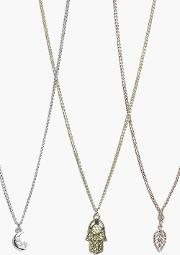 Boohoo , Charm Mixed Metal Necklace Pack - Multi