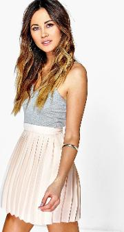 Boohoo , Chiffon Pleated Mini Skirt Nude