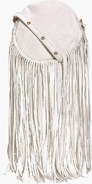 Boohoo , Circle Fringe Cross Body Bag - White