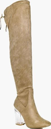 Boohoo , Clear Over The Knee Boot - Stone