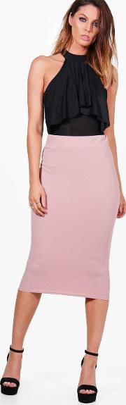 Boohoo , Crepe Stretch Midi Skirt - Rose