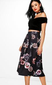 Boohoo , Dark Floral Box Pleat Skater Skirt - Black