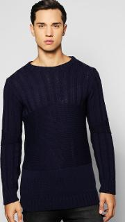 Boohoo , Detail Muscle Fit Ribbed Jumper - Navy