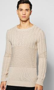 Boohoo , Detail Muscle Fit Ribbed Jumper - Stone