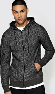 Boohoo , Dye Zip Through Hoody Black