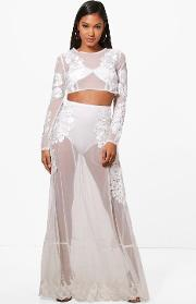 Boohoo , Embroidered Sheer Crop & Maxi Co-ord Set - Ivory