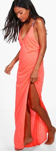 Boohoo , Embroidered Strap Maxi Beach Dress - Coral