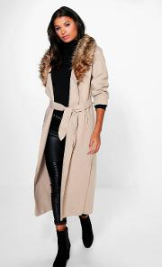 Boohoo , Faux Fur Collar Coat - Stone