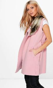 Boohoo , Faux Fur Collar Sleeveless Wool Look Coat - Pink