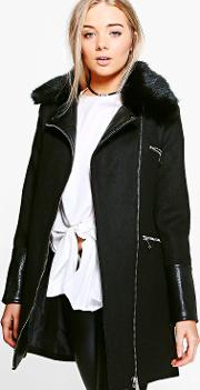 Boohoo , Faux Fur Trim Biker Coat - Black