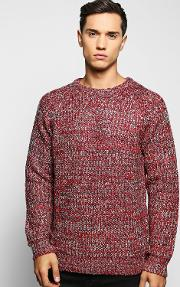 Boohoo , Fisherman Cable Knit Jumper Red